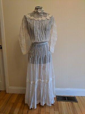 Antique Edwardian Victorian handmade crochet rosettes pin tuck lawn dress