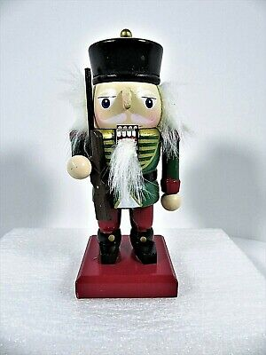 Small Wooden Soldier Christmas Nutcracker Holding Rifle Hand Painted 5.5