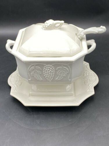 Red Cliff Ironstone Soup Tureen with Underplate and Ladle