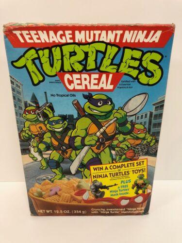 (FACTORY SEALED) TEENAGE MUTANT NINJA TURTLES cereal box (FULL - MINT)  VINTAGE