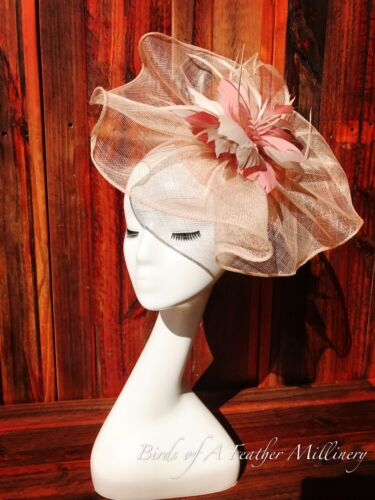 NUDE PINK #37 CLEARANCE Feather Fascinator Melbourne Cup Spring Race Handmde