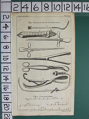 1754 ANTIQUE PRINT ~ INSTRUMENTS USED IN LITHOTOMY SURGICAL EQUIPMENT LOGARITHMS