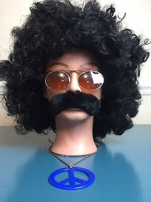 HIPPIE Halloween Costume -  Afro WIG, Glasses, Peace Medallion and Mustache - Afro Hippie Costume