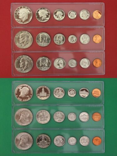 1975 P D S Proof and Mint Sets In Snap Tight Display Cases Combined Shipping