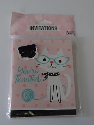 50s Party Invitations (Purr-Fect Party Kitty Cat Birthday/Other Invitations (8 Count) 50's BLANK)