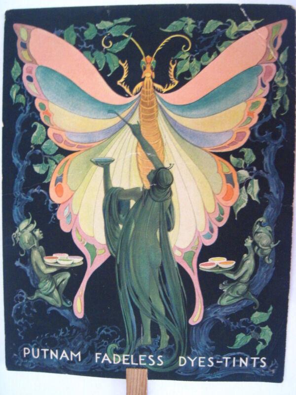 Stunning Vintage Advertising Fan w/ Butterfly Fairy Painting Butterfly Wings *