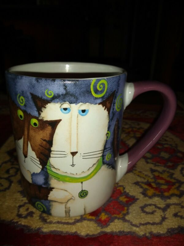 Gibson Cat Kitty Mug Designed by Debi Hron Blue 2006 w/ Four Cats Excellent gift