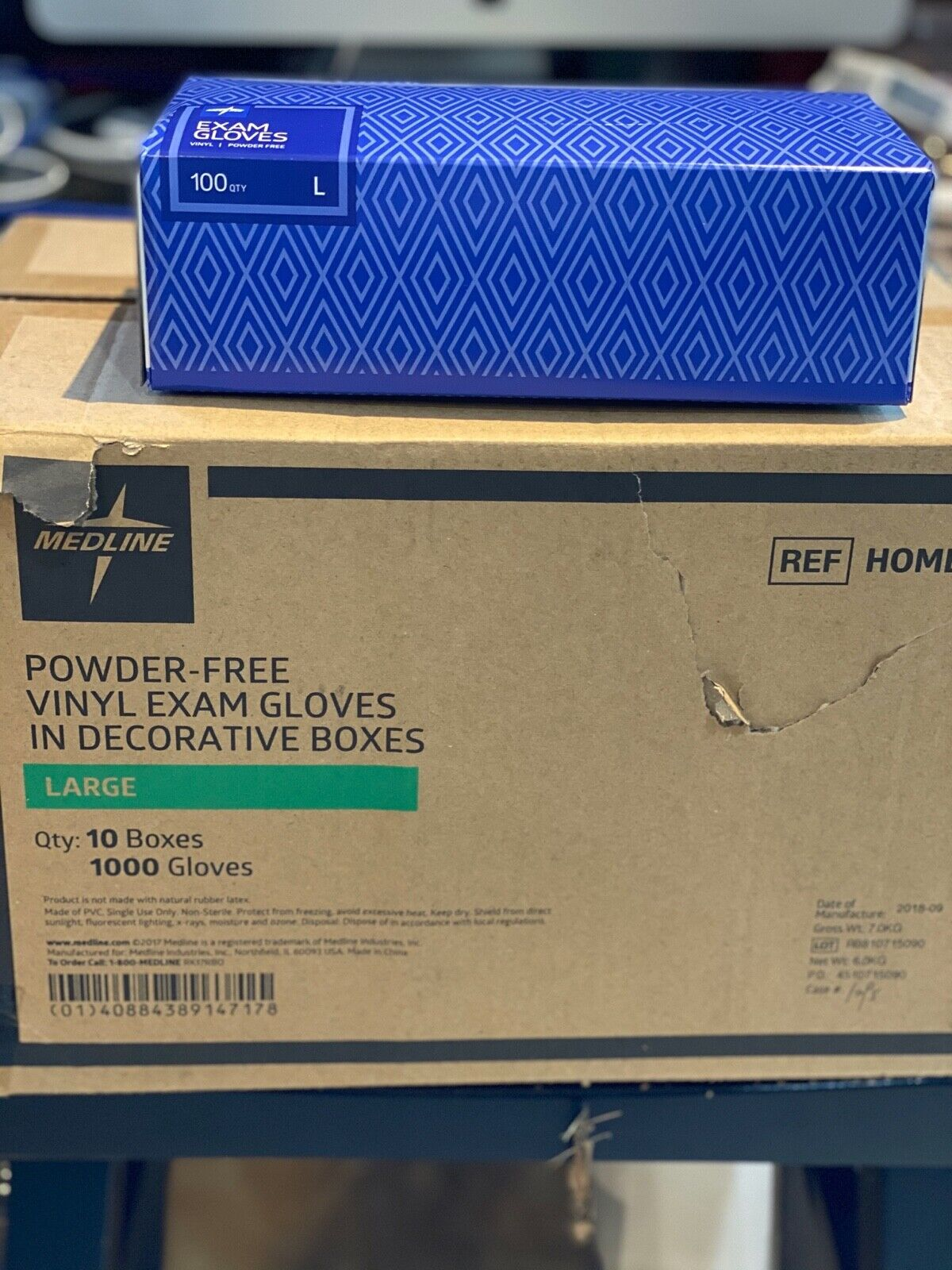 1 Box 100 Medline Large Vinyl Exam Gloves Powder-Free Large