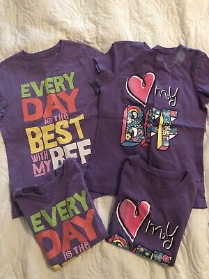 FOUR (Two Pairs) Matching Best Friends Shirts Girls Size (Two Best Friends Shirts)