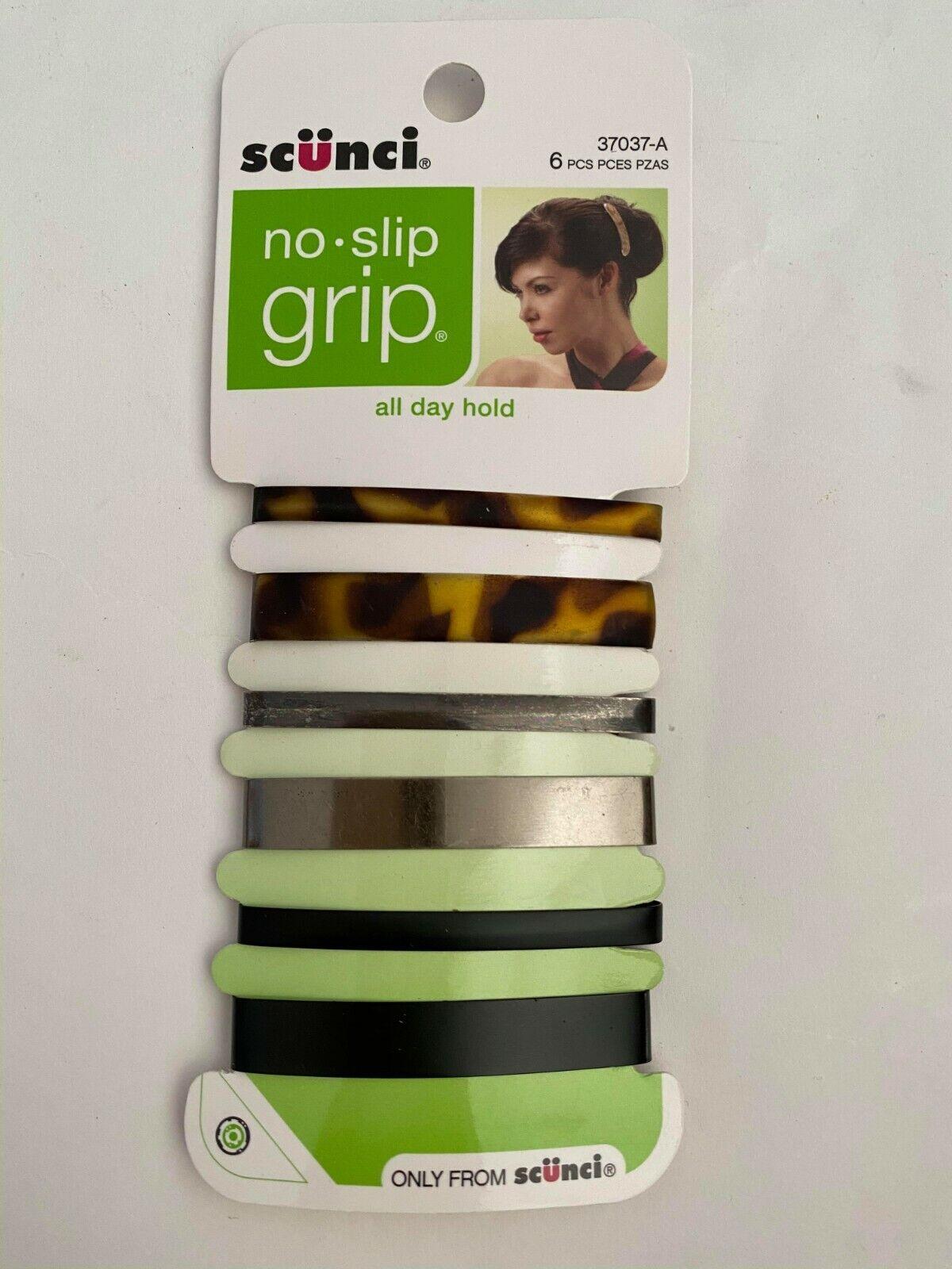 Scunci No-slip Grip Stay Tight Barrettes, 6 Count, Colors Ma