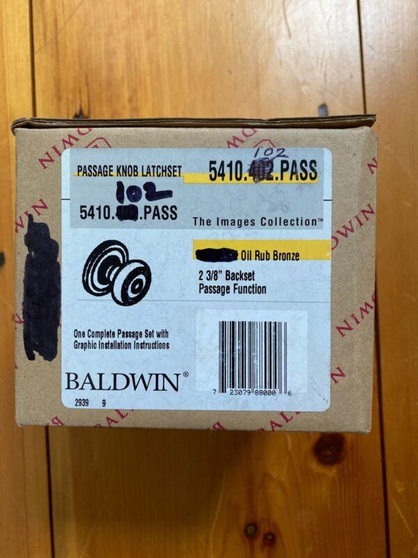 NOS Baldwin Passage Door Images Knob Set Oil Rub Bronze 5410.102.PASS 2x Knobs!