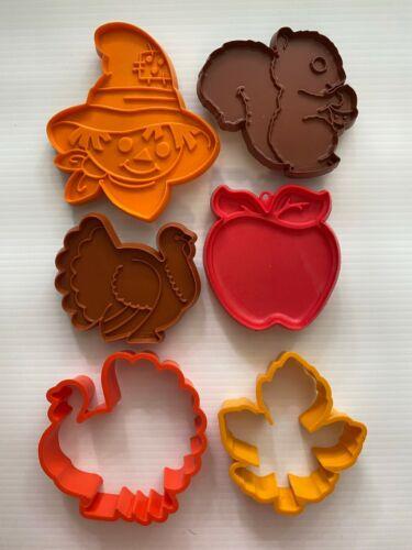 6 Vintage Hallmark Cookie Cutters, Fall & Thanksgiving, Scarecrow, Turkey, etc.