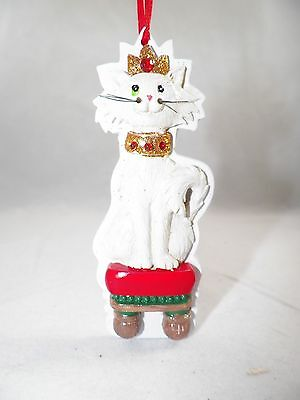 White Cat on Stool in Crown Christmas Tree Ornament new holiday