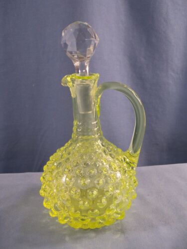 Vintage Hobnail Vaseline Glass Cruet w/ Stopper