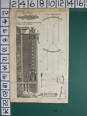 1754 ANTIQUE PRINT ~ COSTAR'S ENGINE RAISING WATER FROM MINES ~ MIRROURS