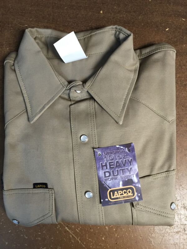"Lapco 950 Khaki 10oz Work Shirt 17 1/2 X 35"" (XLarge)"