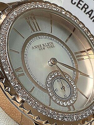 Anne Klein NY Swarovski Crystal 12/2310RGWT Japanese Quartz Watch NWT