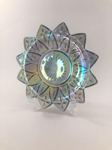 CARNIVAL Glass Dish Flower Petal Glassware Approx 6 Iridescent - $9.95