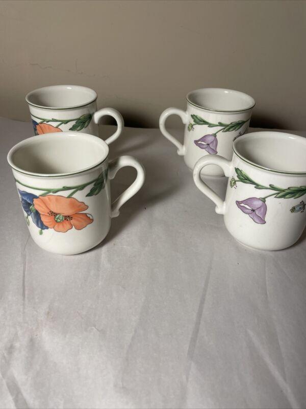Set of 4 Villeroy & Boch Amapola Coffee Mugs  NICE!