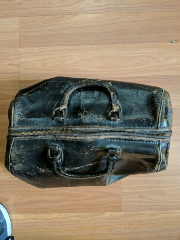 Vintage Doctors Medical Bag Carrying Case Genuine Top Grain WARRANTED COWHIDE