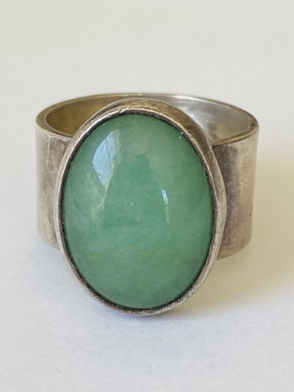 Vintage Chunky Mexico Sterling Silver Green Jade Ring Size 8