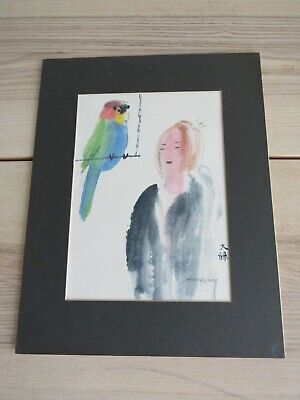 Artwork Hand Painted Chinese Girl Parrot Watercolor Painting 14