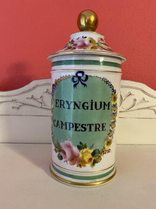 Antique French Apothecary Porcelain Jar Hand Painted Florals Signed by Artist