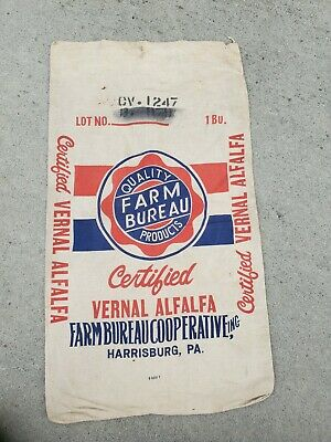 Vintage Vernal Alfalfa Seed Bag Harrisburg Pa. Canvas Nice Color Farm Bureau