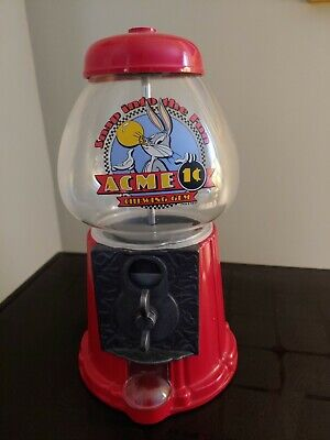"""Vintage Bugs Bunny 11"""" ACME Red Metal/Glass Gumball Machine"""