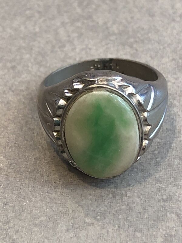 Vintage Chinese Silver Ring with Jade Center