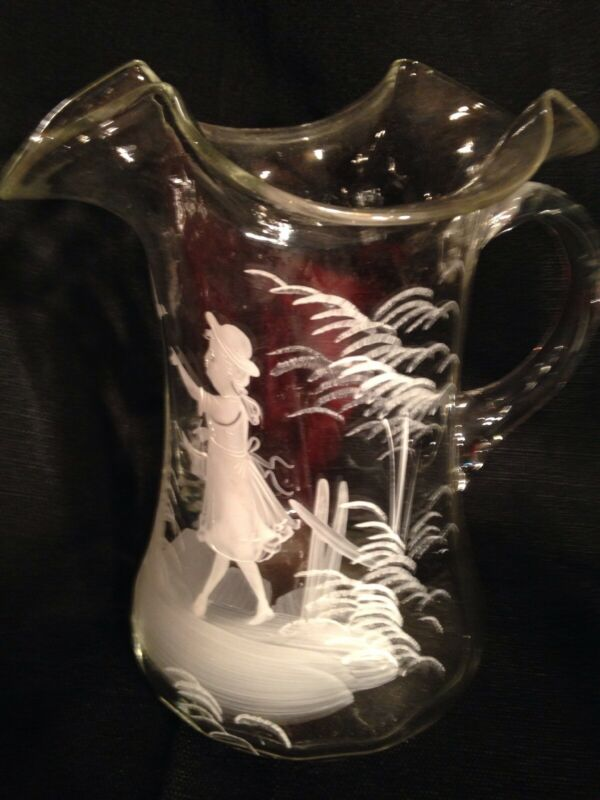 Large MARY GREGORY Ruffled Art Glass Pitcher White, Hand Painted,  Jug Ewer