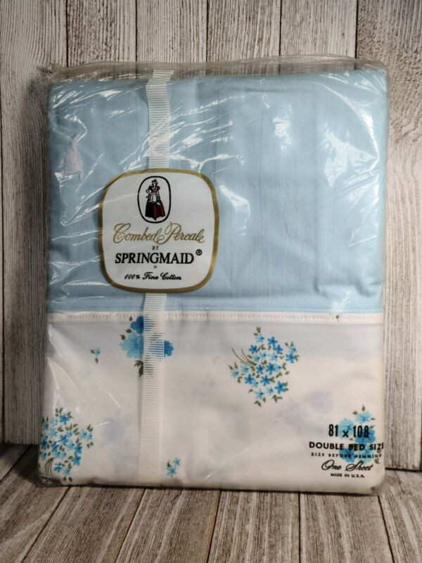 Vintage Springmaid 100% Cotton Combed Percale Floral Sheet Double Bed 72 X 108