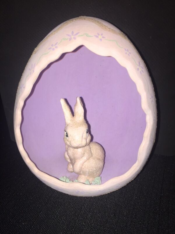 """Vintage Ceramic Easter Egg With Bunny Inside 8"""" Tall Hand Painted 1965 Rabbit"""