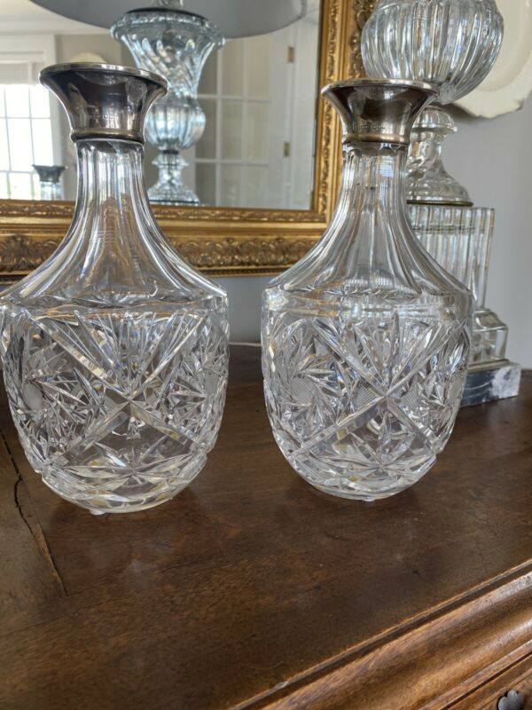 Pair Of Antique Crystal Decanters