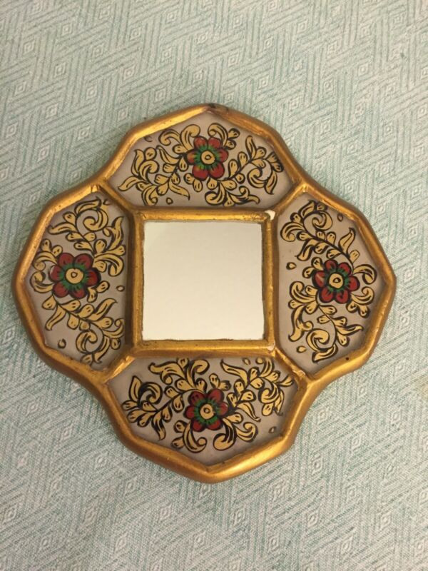 Antique Vintage Small Gold Wood Framed Wall Mirror Floral Painted Art Nouveau