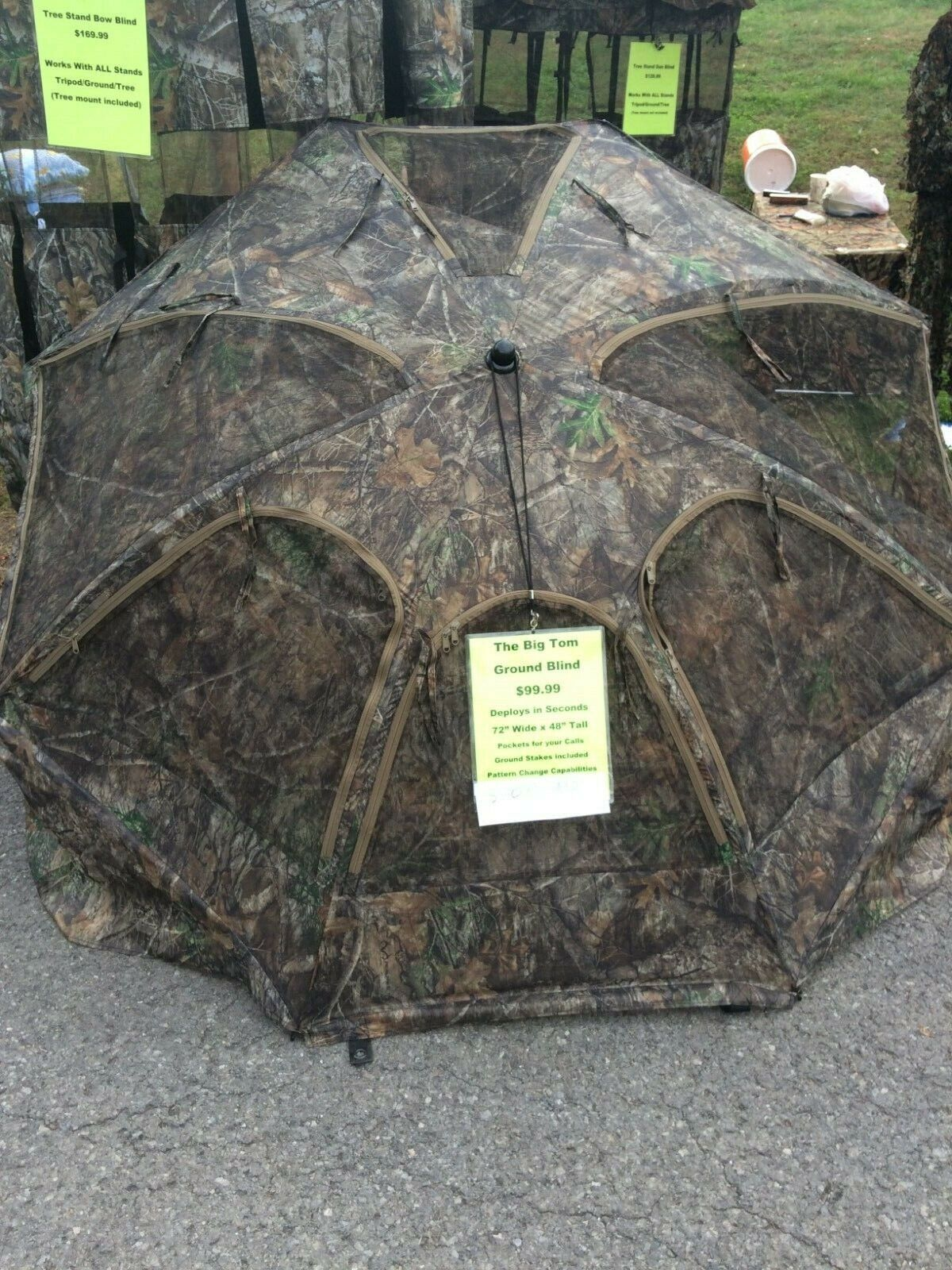 """Ground Blind Umbrella Real Tree 72"""" Wide Up To 60"""""""