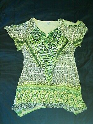 Nwot One World Ladies Size 1x Glitzy Green Multicolor Cold Shoulder Top