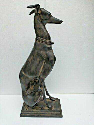 Large Metal Greyhound Dog Statue Figurine 29 inches New Year