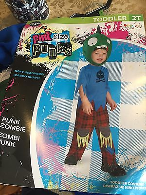 Halloween Costume Dress Up Boys Toddlers 2T Pint Size Punk Zombie Brand New](Toddler Zombie Costumes)
