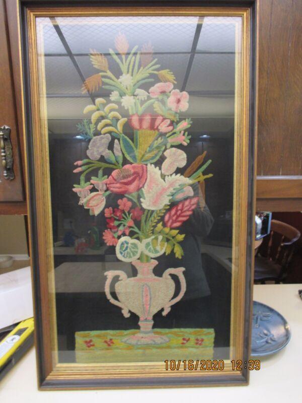 Large Victorian  Stumpwork, Embroidery, Textile Art, Framed Floral Vase