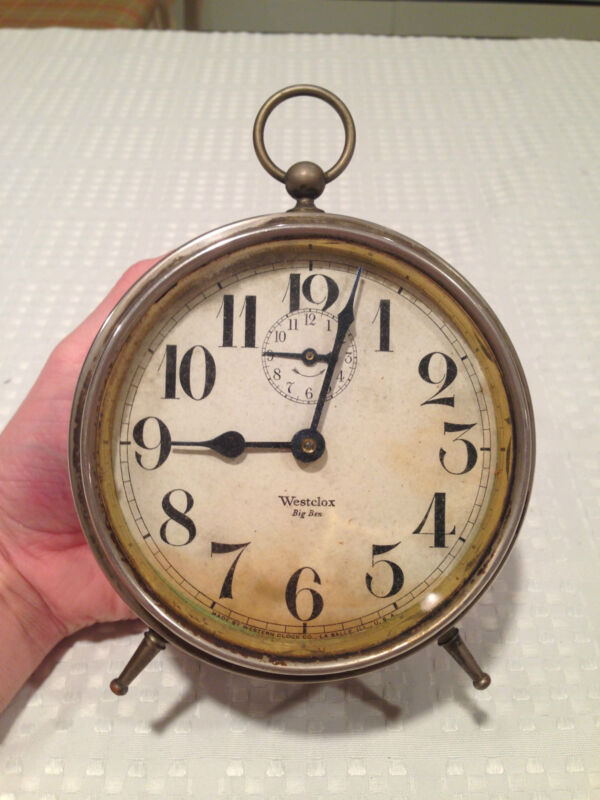 "Antique 1918-1935 WESTCLOX BIG BEN ""STYLE 1a""  Alarm Clock Nickel Finish"