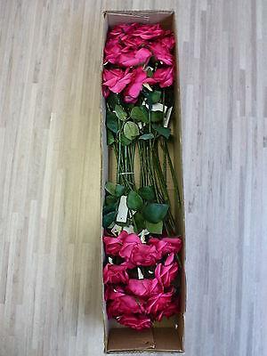 24 x Rose 24tlg Set Seidenblume pink bordeaux bordo L 46 cm 180317 F7