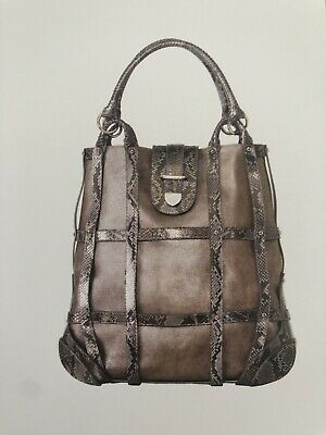 Alexander McQueen Brown And Python Leather Large Caesar Bag AW 2007 Vintage