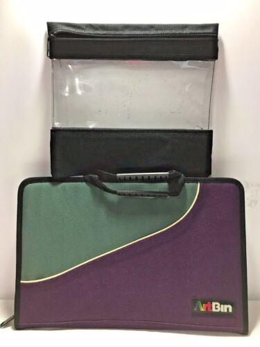 ARTBIN 2 Pc. Craft Supplies Canvas Vinyl Storage Tote Organizer Zipper Closure