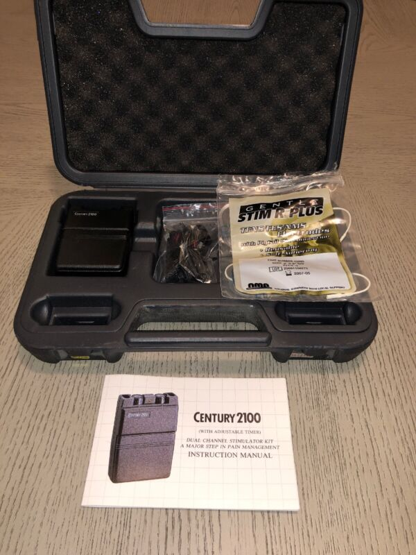 NEW Century 2100 Tens Unit W/Case & 4 Reusable Polymer Electrodes (OPEN BOX)