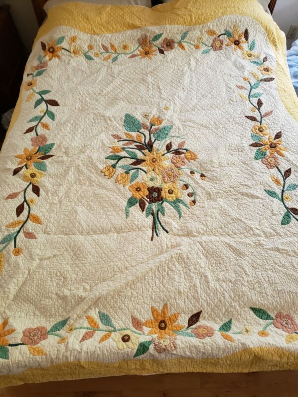 Antique Handmade Cotton Quilt Yellow, Orange, Green Appliques Full Size
