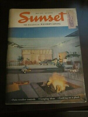 Sunset Magazine May 1953 Patio Weather Controls Camping Ideas Cooking on a Plank