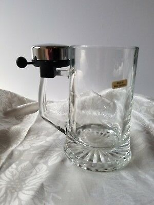 WEST GERMANY GLASS BEER STEIN WITH BICYCLE BELL RINGER FATHER'S DAY BEER MUG