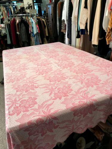 Antique Vintage Pink Woven Coverlet/ Gorgeous Floral Designs !
