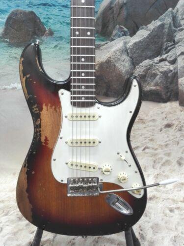 Haze Relic Strat. Electric Guitar,Solid Mahogany Body,SSS,Sunburst+Free Bag. STH
